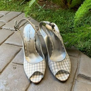 BETTYE MULLER Grey/Cream Plaid Sling Back Heels